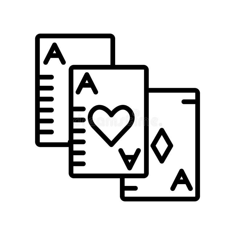 Διάνυσμα εικονιδίων παιχνιδιών καρτών που απομονώνεται στο άσπρο υπόβαθρο, Si παιχνιδιών καρτών διανυσματική απεικόνιση