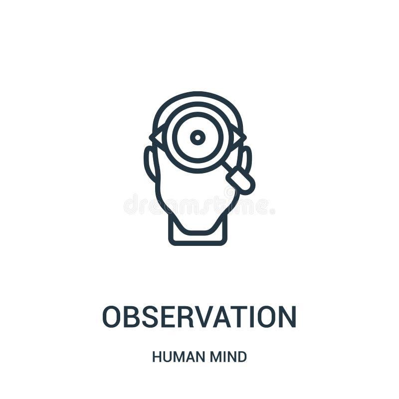 διάνυσμα εικονιδίων παρατήρησης από την ανθρώπινη συλλογή μυαλού Λεπτή διανυσματική απεικόνιση εικονιδίων περιλήψεων παρατήρησης  απεικόνιση αποθεμάτων