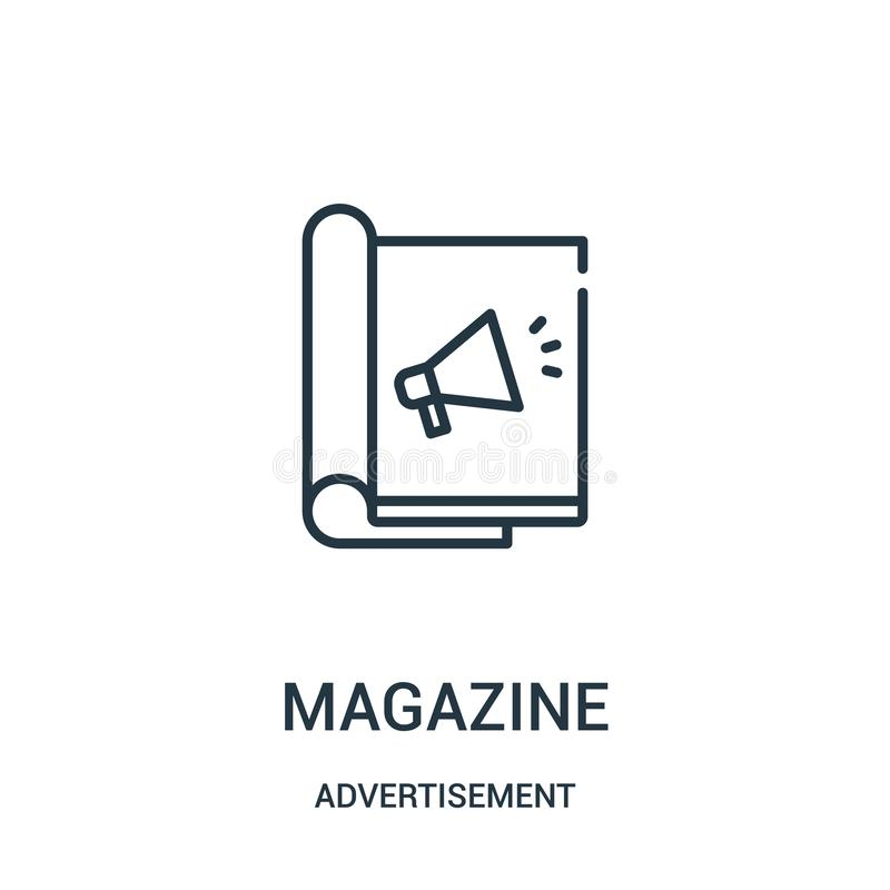 διάνυσμα εικονιδίων περιοδικών από τη συλλογή διαφημίσεων Λεπτή διανυσματική απεικόνιση εικονιδίων περιλήψεων περιοδικών γραμμών διανυσματική απεικόνιση