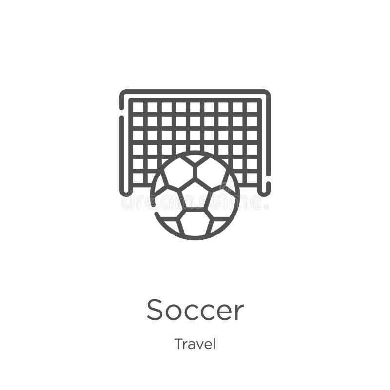 διάνυσμα εικονιδίων ποδοσφαίρου από τη συλλογή ταξιδιού Λεπτή διανυσματική απεικόνιση εικονιδίων περιλήψεων ποδοσφαίρου γραμμών Π ελεύθερη απεικόνιση δικαιώματος