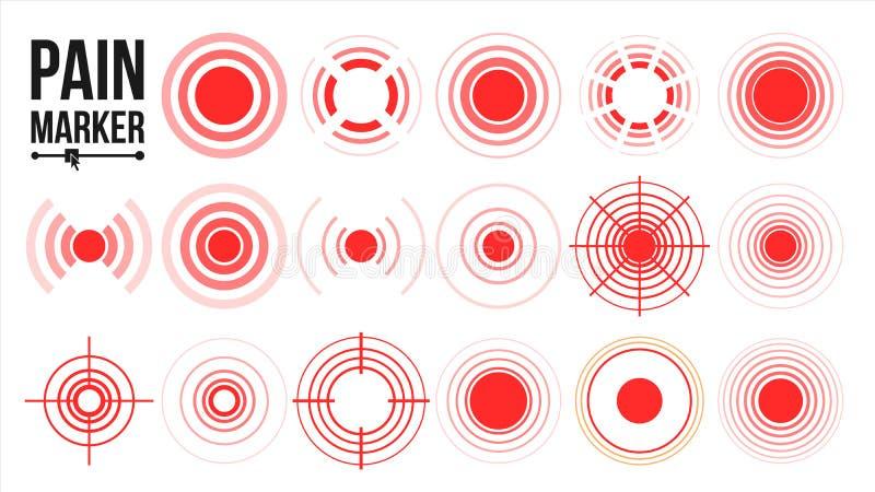 Διάνυσμα εικονιδίων πόνου κόκκινα δαχτυλίδια Κύκλος πόνου απομονωμένη ωθώντας s κουμπιών γυναίκα έναρξης χεριών απεικόνιση απεικόνιση αποθεμάτων