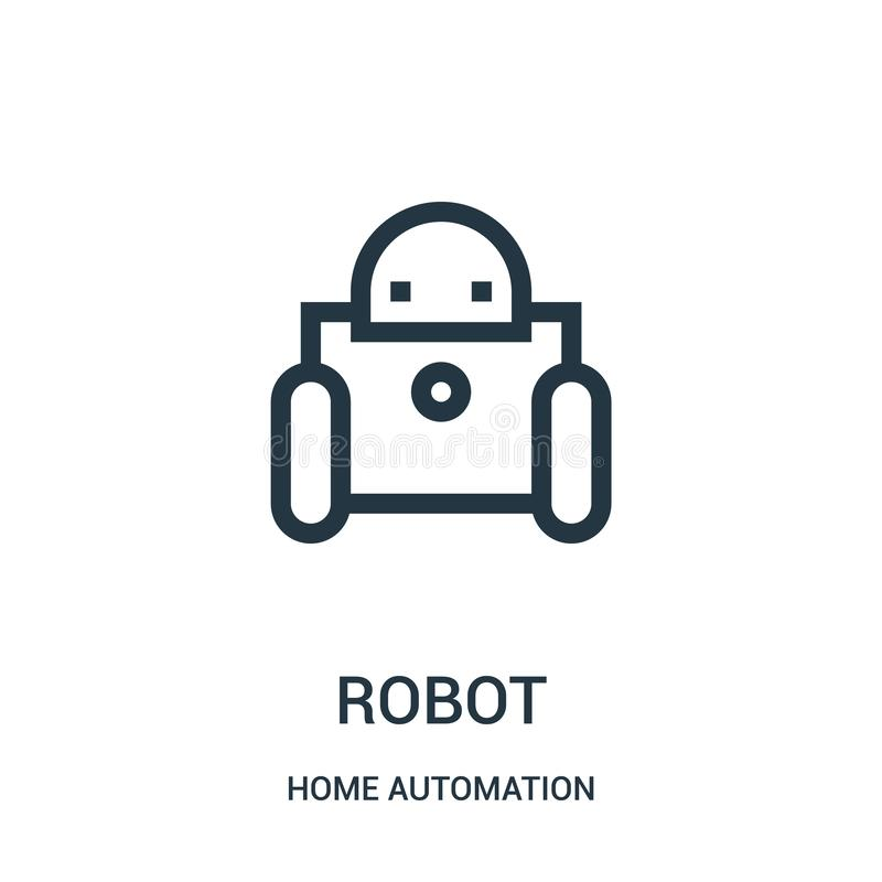 διάνυσμα εικονιδίων ρομπότ από τη συλλογή εγχώριας αυτοματοποίησης Λεπτή διανυσματική απεικόνιση εικονιδίων περιλήψεων ρομπότ γρα απεικόνιση αποθεμάτων