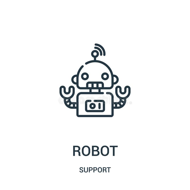 διάνυσμα εικονιδίων ρομπότ από τη συλλογή υποστήριξης Λεπτή διανυσματική απεικόνιση εικονιδίων περιλήψεων ρομπότ γραμμών Γραμμικό απεικόνιση αποθεμάτων