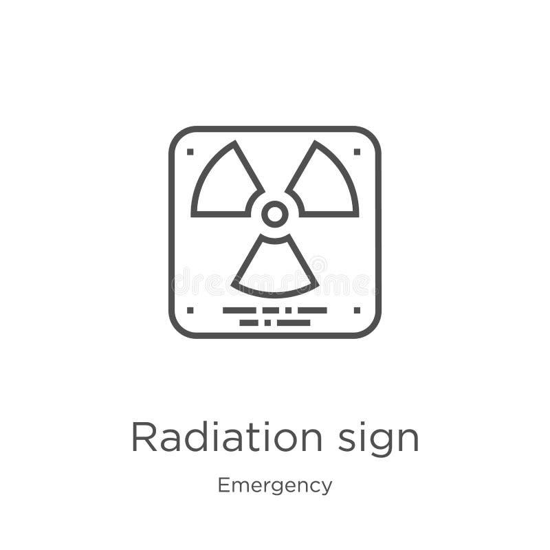 διάνυσμα εικονιδίων σημαδιών ακτινοβολίας από τη συλλογή έκτακτης ανάγκης Λεπτή διανυσματική απεικόνιση εικονιδίων περιλήψεων σημ διανυσματική απεικόνιση