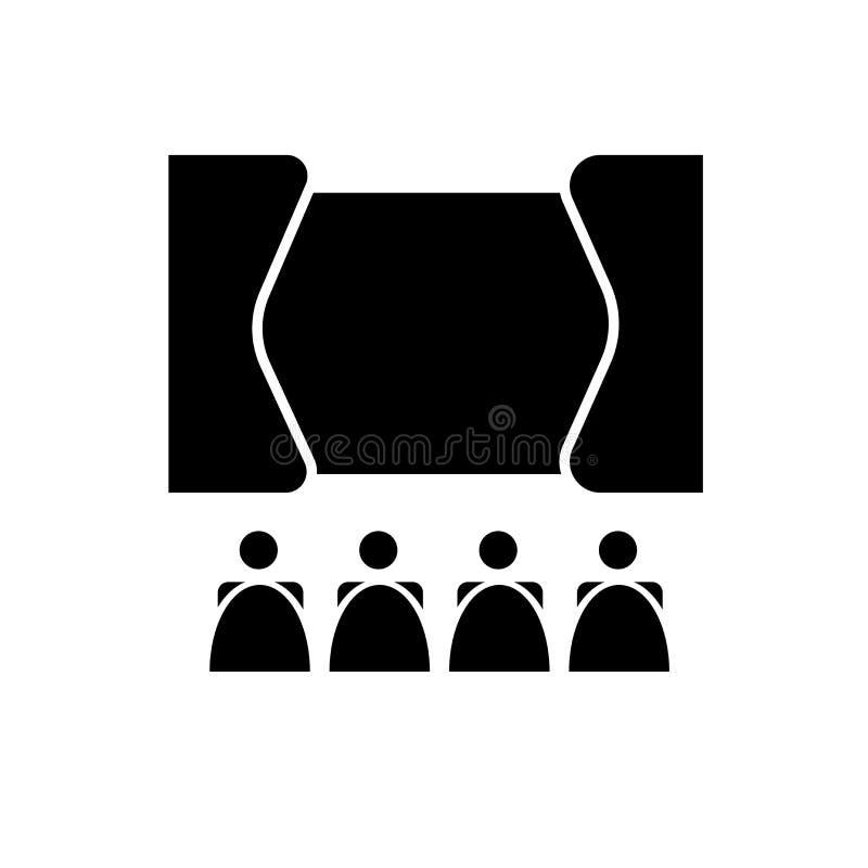 Διάνυσμα εικονιδίων σημαδιών θεάτρων που απομονώνεται στο άσπρο υπόβαθρο, θέατρο S διανυσματική απεικόνιση
