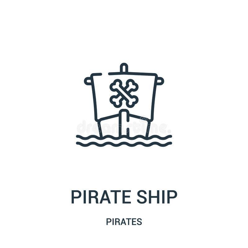 διάνυσμα εικονιδίων σκαφών πειρατών από τη συλλογή πειρατών Λεπτή διανυσματική απεικόνιση εικονιδίων περιλήψεων σκαφών πειρατών γ ελεύθερη απεικόνιση δικαιώματος