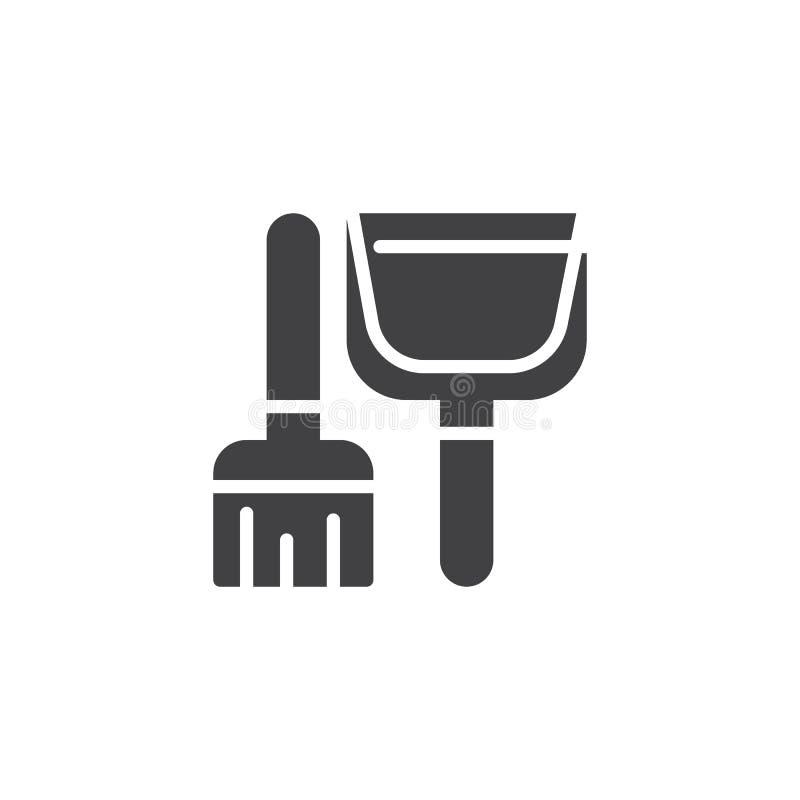 Διάνυσμα εικονιδίων σκουπών και σεσουλών διανυσματική απεικόνιση