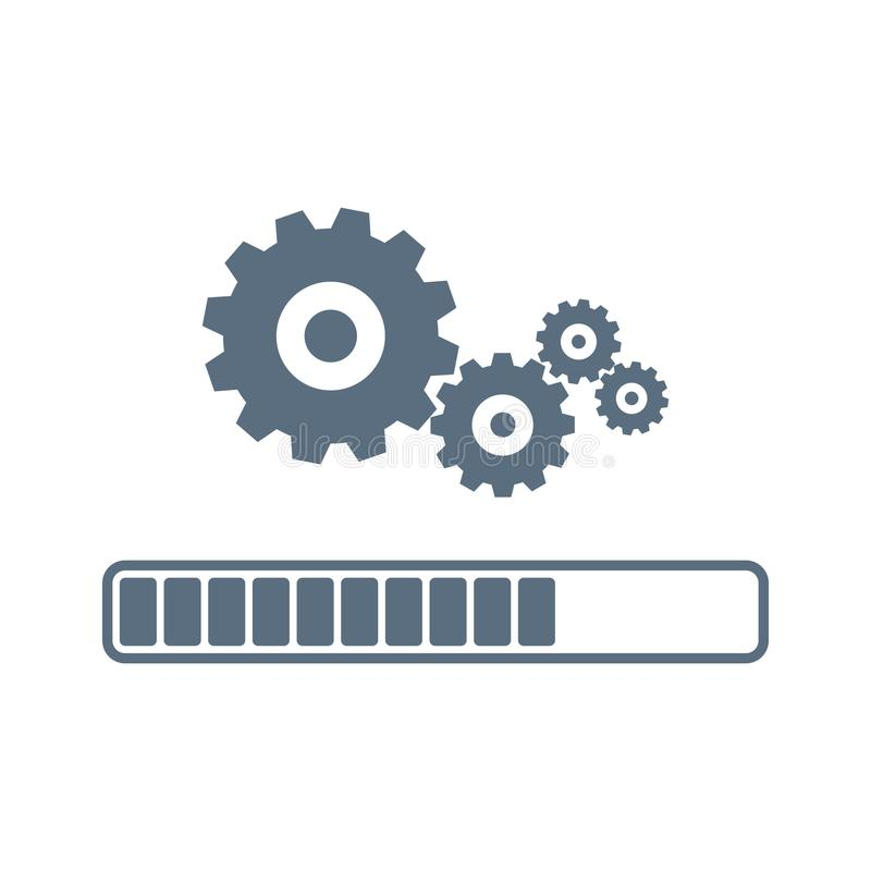 Διάνυσμα εικονιδίων συστημάτων αναπροσαρμογών διαδικασία φόρτωσης Σύγχρονη επίπεδη διανυσματική απεικόνιση σχεδίου Έννοια της εφα απεικόνιση αποθεμάτων