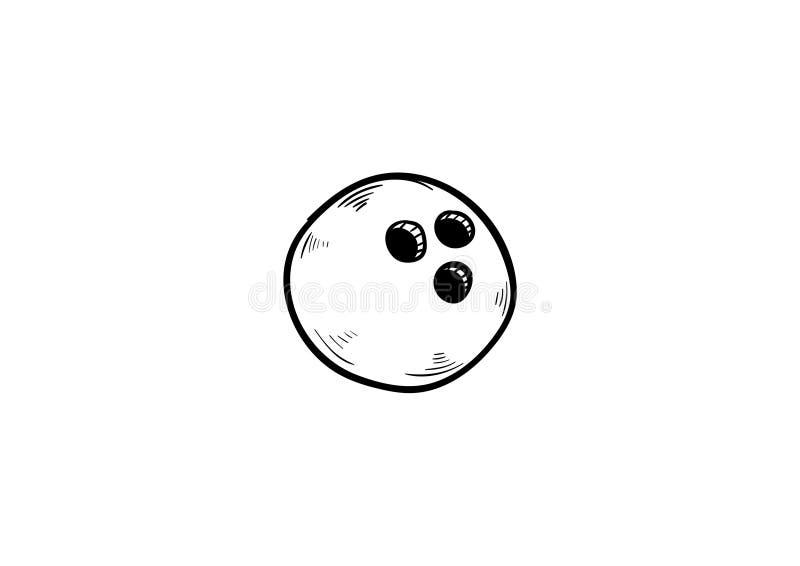 Διάνυσμα εικονιδίων σφαιρών μπόουλινγκ doodle διανυσματική απεικόνιση