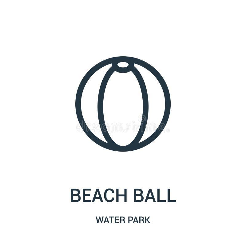 διάνυσμα εικονιδίων σφαιρών παραλιών από τη συλλογή πάρκων νερού Λεπτή διανυσματική απεικόνιση εικονιδίων περιλήψεων σφαιρών παρα ελεύθερη απεικόνιση δικαιώματος