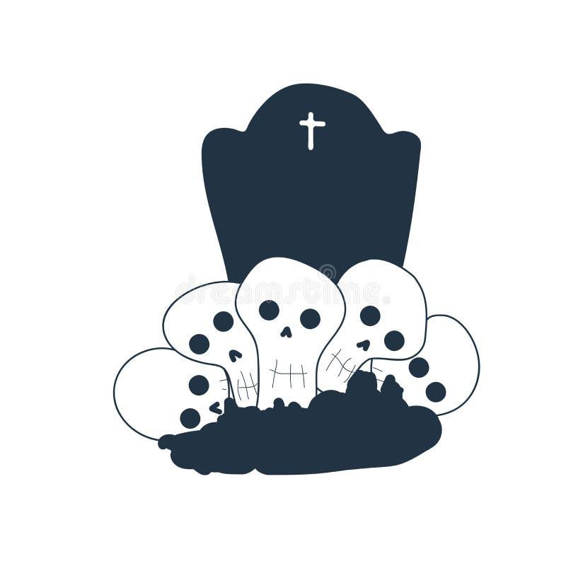 Διάνυσμα εικονιδίων τάφων που απομονώνεται στο άσπρο υπόβαθρο, σημάδι τάφων απεικόνιση αποθεμάτων