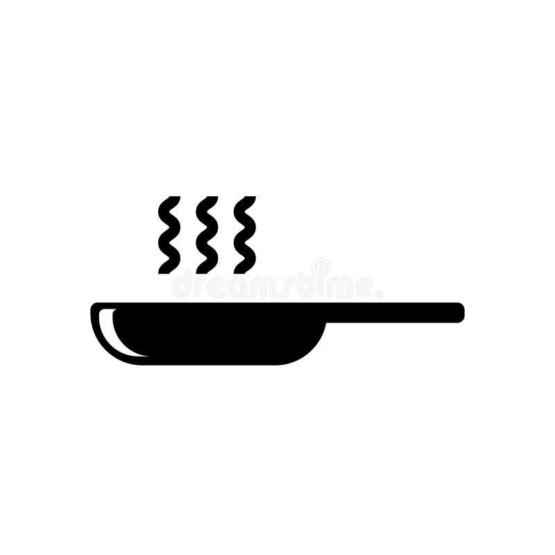 Διάνυσμα εικονιδίων τηγανίσματος παν που απομονώνεται στο άσπρο υπόβαθρο, τηγανίζοντας παν σημάδι, σύμβολα τροφίμων ελεύθερη απεικόνιση δικαιώματος