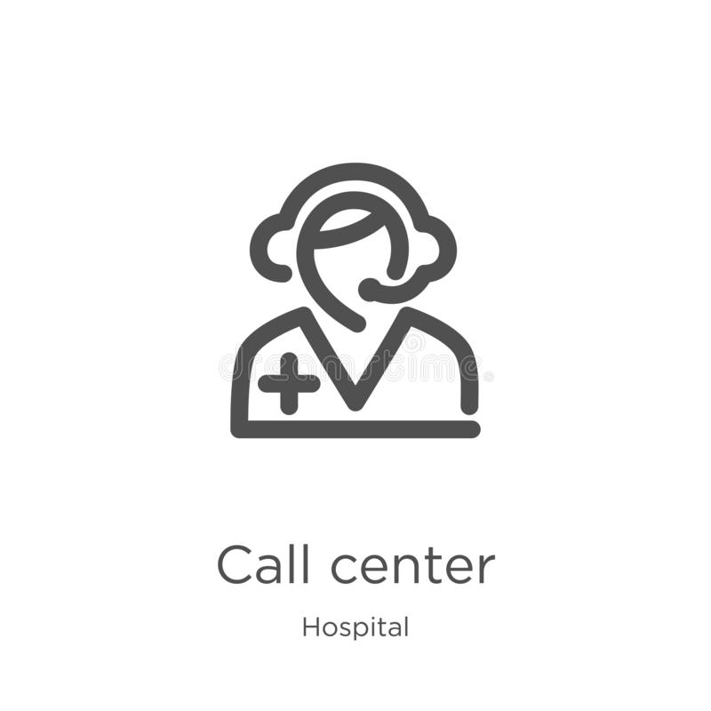 διάνυσμα εικονιδίων τηλεφωνικών κέντρων από τη συλλογή νοσοκομείων Λεπτή διανυσματική απεικόνιση εικονιδίων περιλήψεων τηλεφωνικώ απεικόνιση αποθεμάτων