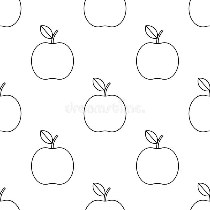 Διάνυσμα εικονιδίων της Apple σχέδιο ύφους περιλήψεων μήλων στο άσπρο υπόβαθρο πρότυπο άνευ ραφής ελεύθερη απεικόνιση δικαιώματος