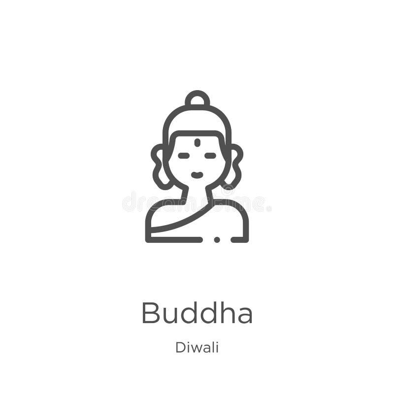 διάνυσμα εικονιδίων του Βούδα από τη συλλογή diwali Λεπτή διανυσματική απεικόνιση εικονιδίων περιλήψεων του Βούδα γραμμών Περίληψ διανυσματική απεικόνιση