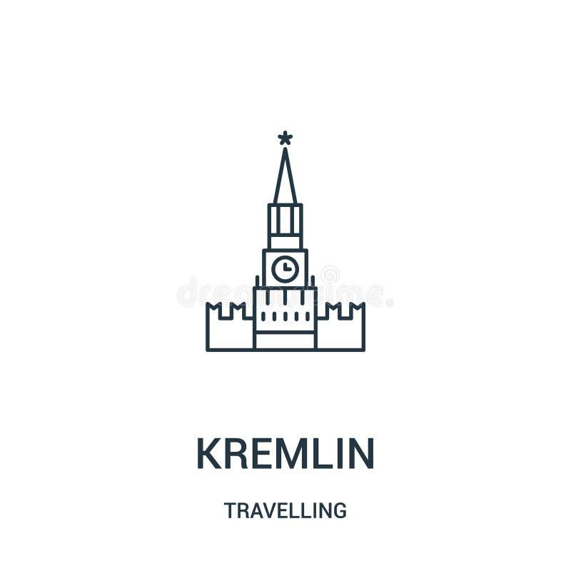 διάνυσμα εικονιδίων του Κρεμλίνου από τη διακινούμενη συλλογή Λεπτή διανυσματική απεικόνιση εικονιδίων περιλήψεων του Κρεμλίνου γ απεικόνιση αποθεμάτων
