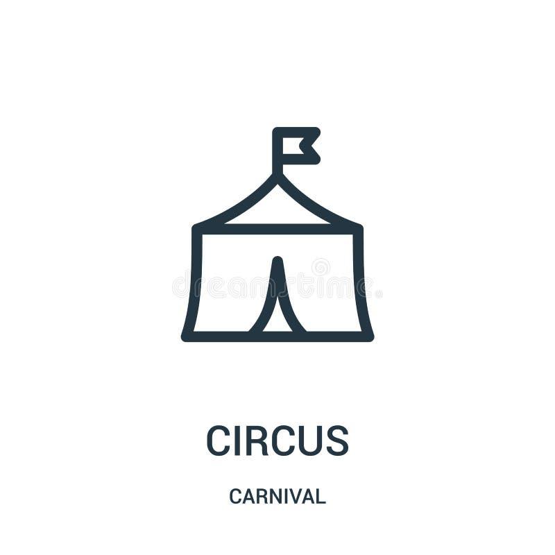 διάνυσμα εικονιδίων τσίρκων από τη συλλογή καρναβαλιού Λεπτή διανυσματική απεικόνιση εικονιδίων περιλήψεων τσίρκων γραμμών απεικόνιση αποθεμάτων