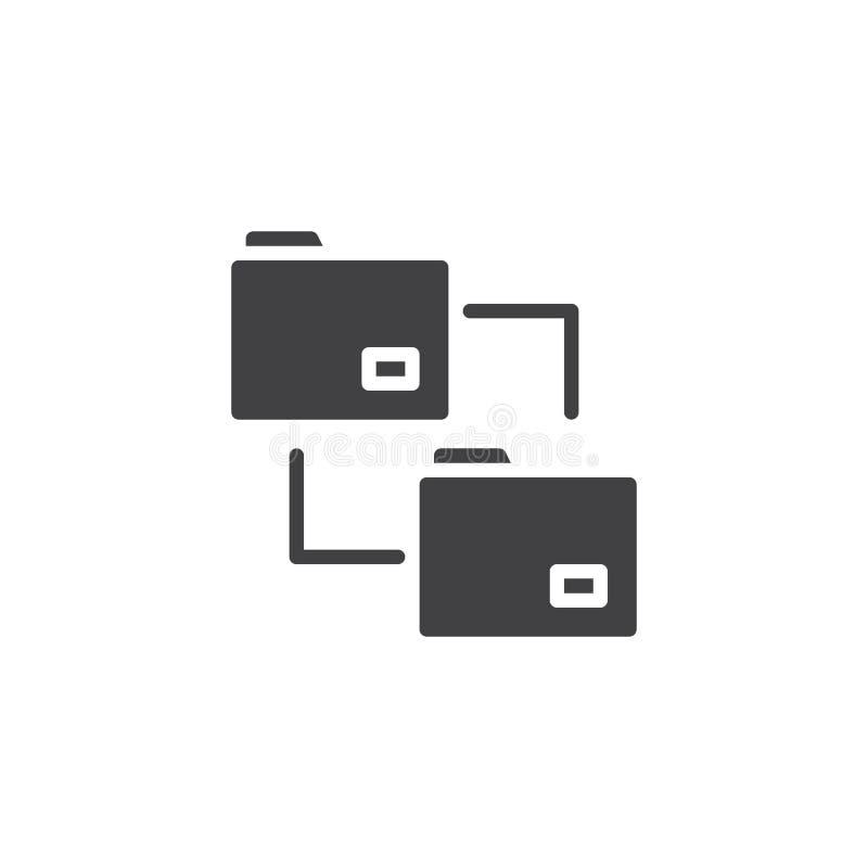 Διάνυσμα εικονιδίων φακέλλων μεταφοράς αρχείων διανυσματική απεικόνιση