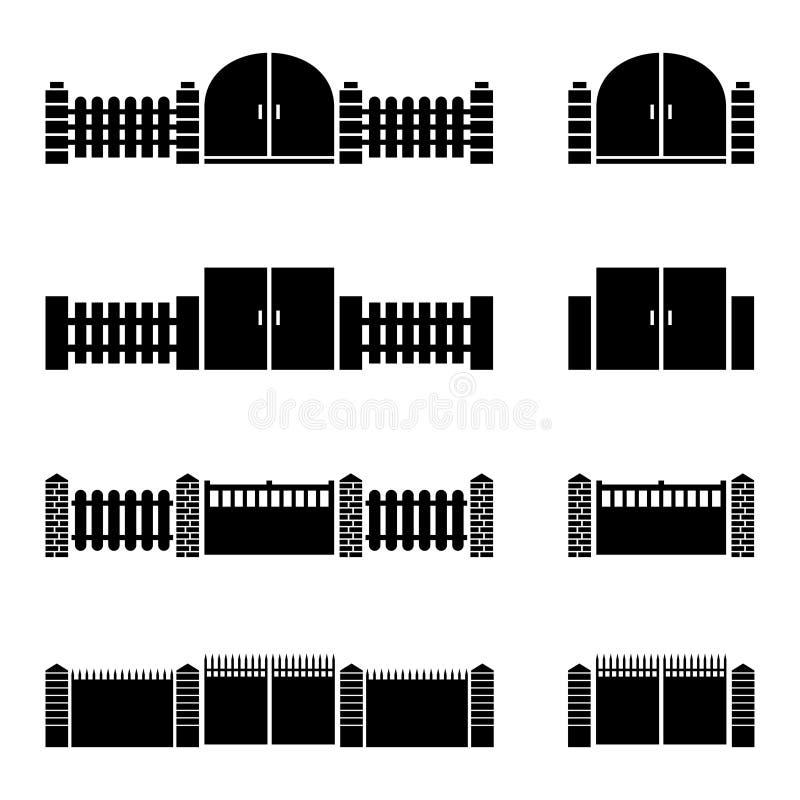 Διάνυσμα εικονιδίων φρακτών και πυλών ελεύθερη απεικόνιση δικαιώματος