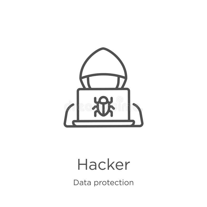 διάνυσμα εικονιδίων χάκερ από τη συλλογή προστασίας δεδομένων Λεπτή διανυσματική απεικόνιση εικονιδίων περιλήψεων χάκερ γραμμών Π απεικόνιση αποθεμάτων