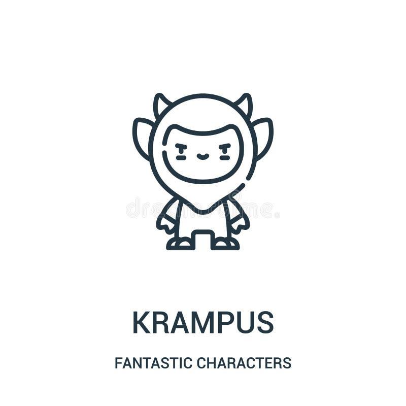 διάνυσμα εικονιδίων krampus από τη φανταστική συλλογή χαρακτήρων Λεπτή διανυσματική απεικόνιση εικονιδίων περιλήψεων krampus γραμ ελεύθερη απεικόνιση δικαιώματος
