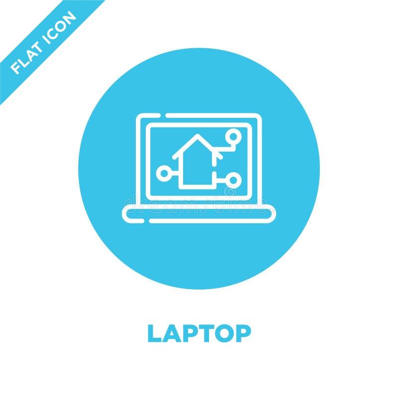 διάνυσμα εικονιδίων lap-top από την έξυπνη εγχώρια συλλογή Λεπτή διανυσματική απεικόνιση εικονιδίων περιλήψεων lap-top γραμμών Γρ ελεύθερη απεικόνιση δικαιώματος