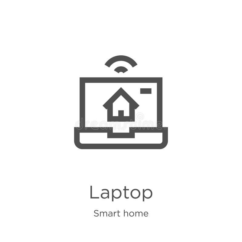 διάνυσμα εικονιδίων lap-top από την έξυπνη εγχώρια συλλογή Λεπτή διανυσματική απεικόνιση εικονιδίων περιλήψεων lap-top γραμμών Πε διανυσματική απεικόνιση