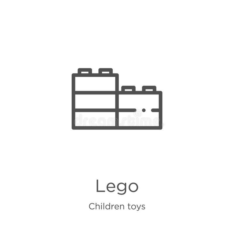 διάνυσμα εικονιδίων lego από τη συλλογή παιχνιδιών παιδιών Λεπτή διανυσματική απεικόνιση εικονιδίων περιλήψεων lego γραμμών Περίλ απεικόνιση αποθεμάτων