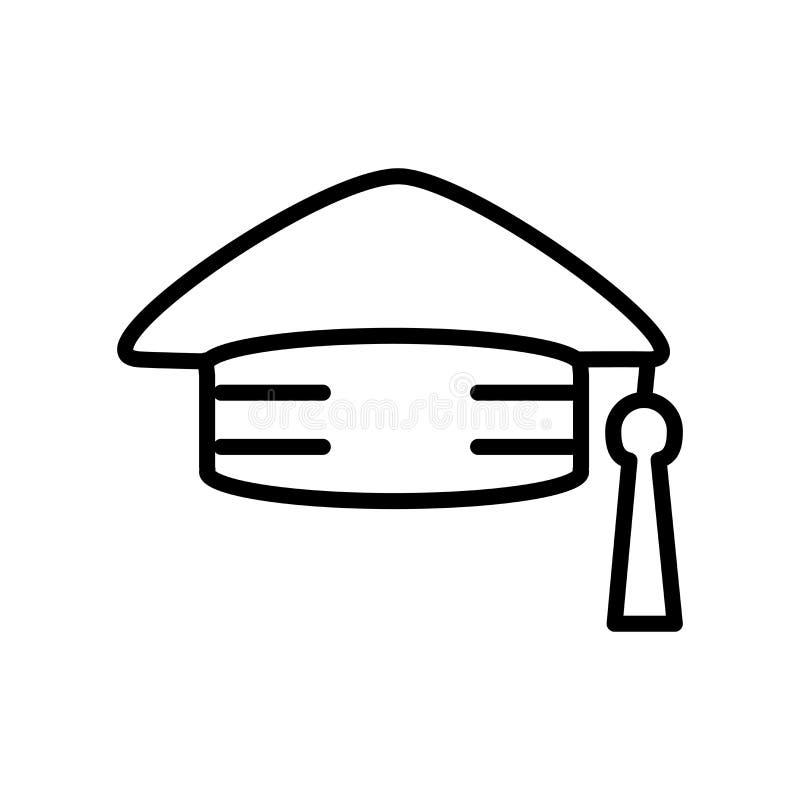 Διάνυσμα εικονιδίων Mortarboard που απομονώνεται στο άσπρο υπόβαθρο, Mortarboar διανυσματική απεικόνιση