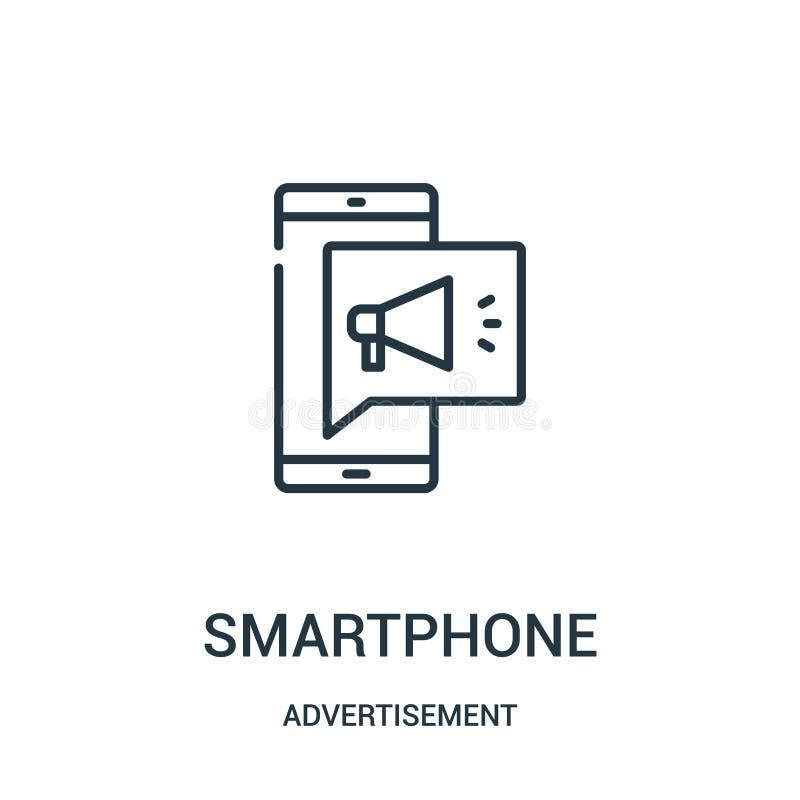 διάνυσμα εικονιδίων smartphone από τη συλλογή διαφημίσεων Λεπτή διανυσματική απεικόνιση εικονιδίων περιλήψεων smartphone γραμμών ελεύθερη απεικόνιση δικαιώματος