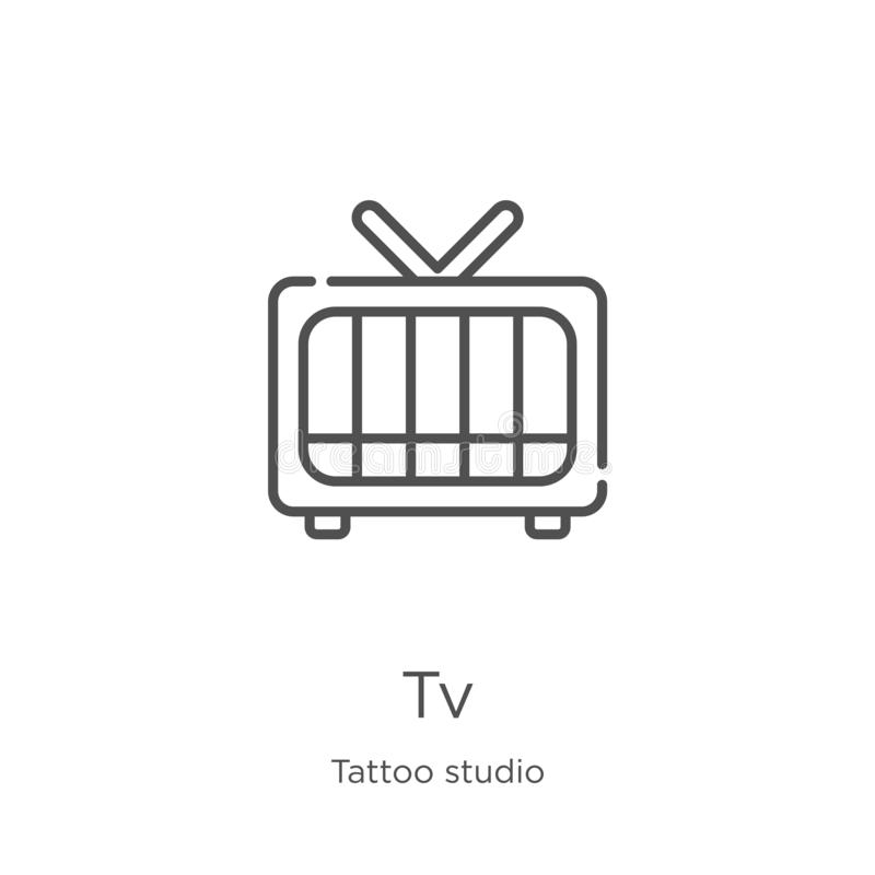 διάνυσμα εικονιδίων TV από τη συλλογή στούντιο δερματοστιξιών Λεπτή διανυσματική απεικόνιση εικονιδίων περιλήψεων TV γραμμών Περί απεικόνιση αποθεμάτων