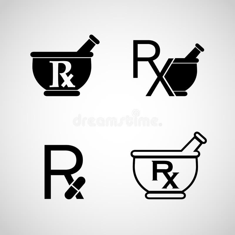 Διάνυσμα εικονιδίων λογότυπων φαρμακείων στοκ εικόνες