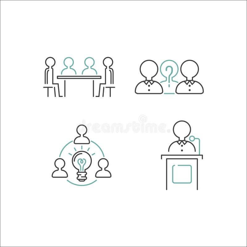 Διάνυσμα εικονιδίων περιλήψεων επιχειρησιακής ομαδικής εργασίας απεικόνιση αποθεμάτων