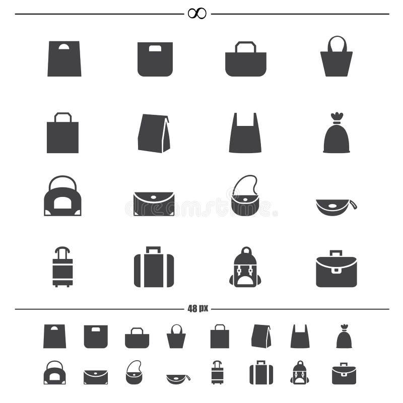 Διάνυσμα εικονιδίων τσαντών απεικόνιση αποθεμάτων