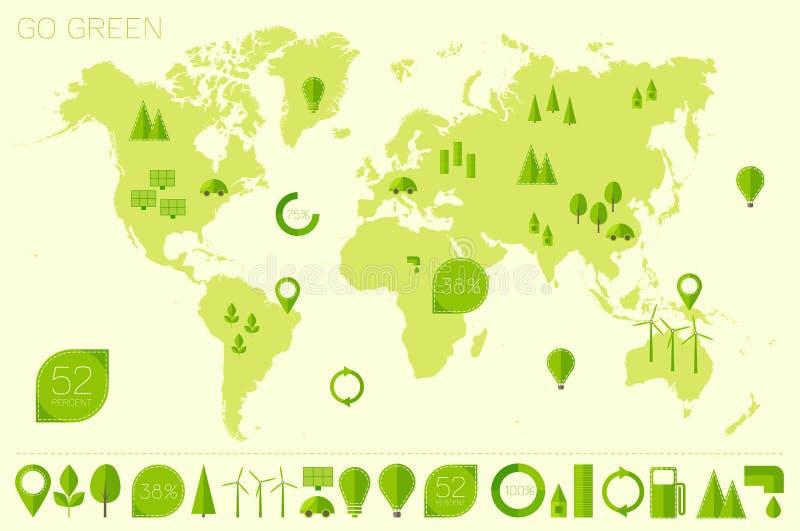 Διάνυσμα εικονιδίων eco οικολογίας παγκόσμιων υψηλό λεπτομερές χαρτών απεικόνιση αποθεμάτων