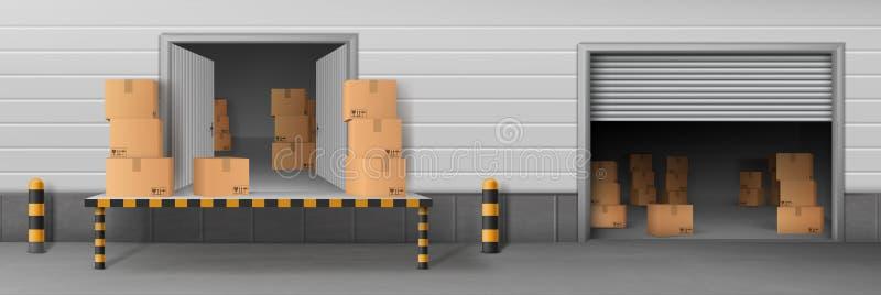 Διάνυσμα εισόδων φόρτωσης αποθηκών εμπορευμάτων υπηρεσιών παράδοσης διανυσματική απεικόνιση