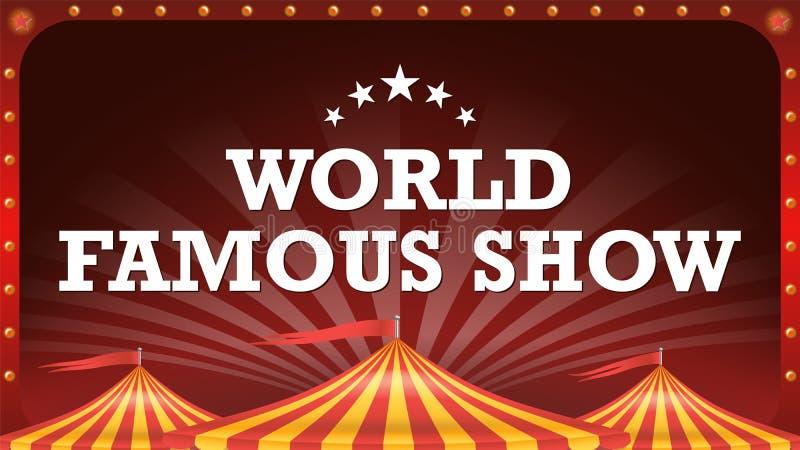 Διάνυσμα εμβλημάτων αφισών τσίρκων Εκλεκτής ποιότητας μαγικός παρουσιάζει Κλασική μεγάλη κορυφή σκηνή Φεστιβάλ τεχνών απεικόνιση διανυσματική απεικόνιση