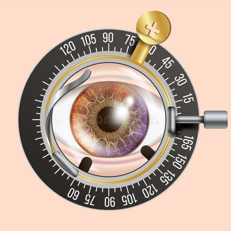Διάνυσμα εμβλημάτων δοκιμής ματιών Πλαίσιο ιχνών Διαγνωστικός εξοπλισμός Optometrist έλεγχος Απεικόνιση προσοχής απεικόνιση αποθεμάτων