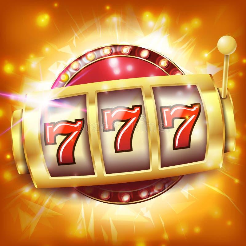Διάνυσμα εμβλημάτων μηχανημάτων τυχερών παιχνιδιών με κέρματα χαρτοπαικτικών λεσχών Έννοια τζακ ποτ Sevens Αντικείμενο περιστροφή ελεύθερη απεικόνιση δικαιώματος