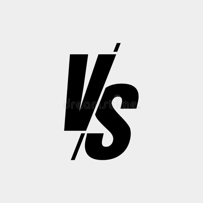 Διάνυσμα εναντίον μαύρου χρώματος ύφους σημαδιών του σύγχρονου που απομονώνεται στο άσπρο υπόβαθρο για τη μάχη, αθλητισμός, ανταγ απεικόνιση αποθεμάτων