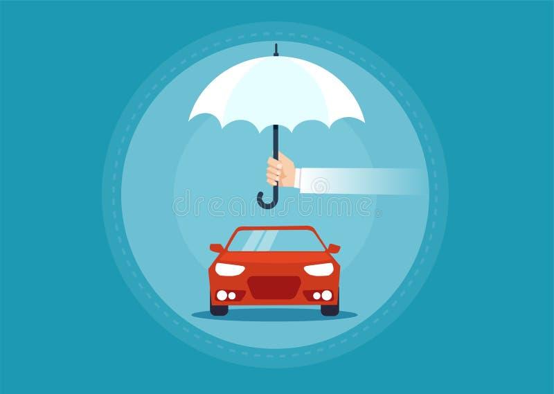 Διάνυσμα ενός αυτοκινήτου κάτω από την ομπρέλα ως σύμβολο για την ασφάλεια απεικόνιση αποθεμάτων