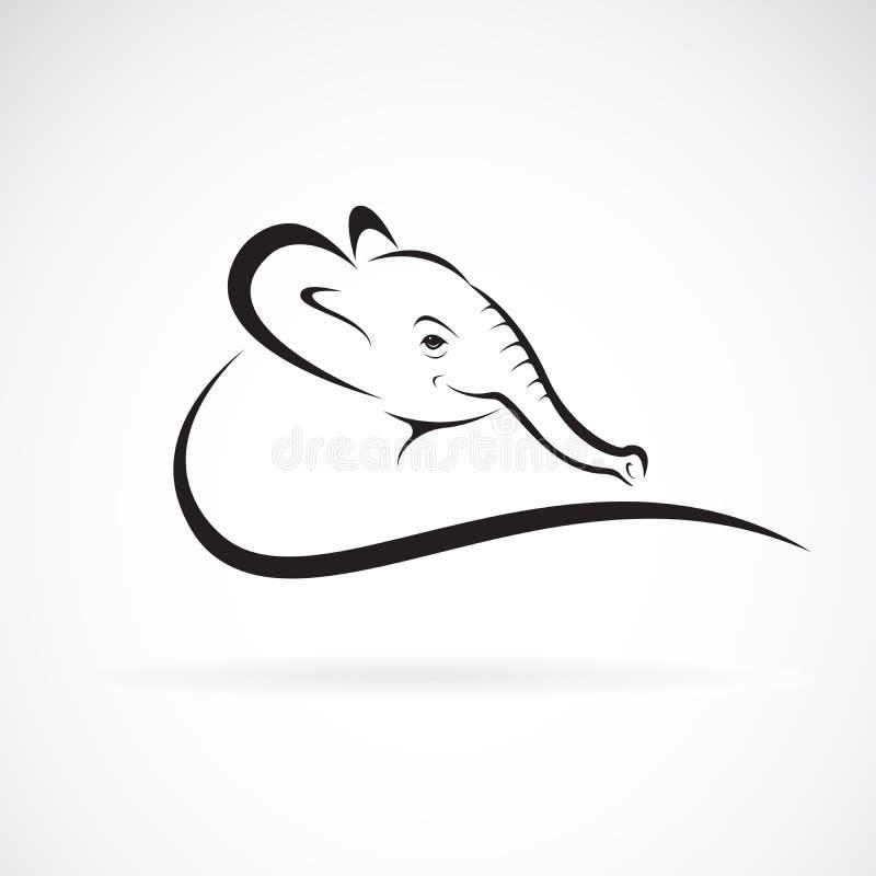 Διάνυσμα ενός επικεφαλής σχεδίου ελεφάντων σε ένα άσπρο υπόβαθρο r Λογότυπο ή εικονίδιο ελεφάντων ελεύθερη απεικόνιση δικαιώματος