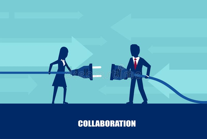 Διάνυσμα ενός επιχειρηματία και ενός συνδέοντας βουλώματος και μιας εξόδου επιχειρηματιών ελεύθερη απεικόνιση δικαιώματος