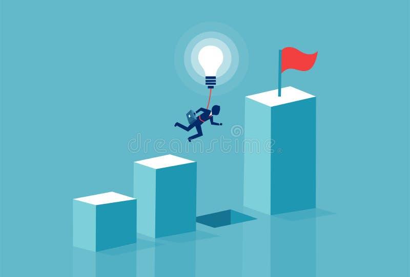 Διάνυσμα ενός επιχειρηματία που πετά πέρα από το χάσμα διαγραμμάτων με το lightbulb διανυσματική απεικόνιση