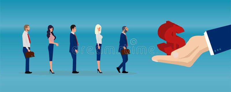 Διάνυσμα ενός μεγάλου χεριού επιχειρηματιών που δίνει τα χρήματα στους επιχειρηματίες απεικόνιση αποθεμάτων