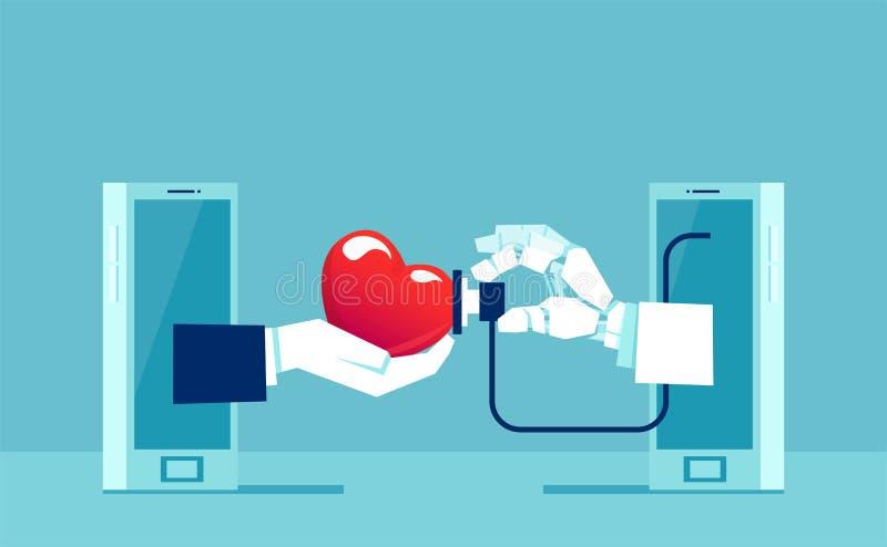 Διάνυσμα ενός ρομπότ γιατρών χεριών με το στηθοσκόπιο που μετρά το υπομονετικό ποσοστό καρδιών στο έξυπνο τηλέφωνο ελεύθερη απεικόνιση δικαιώματος