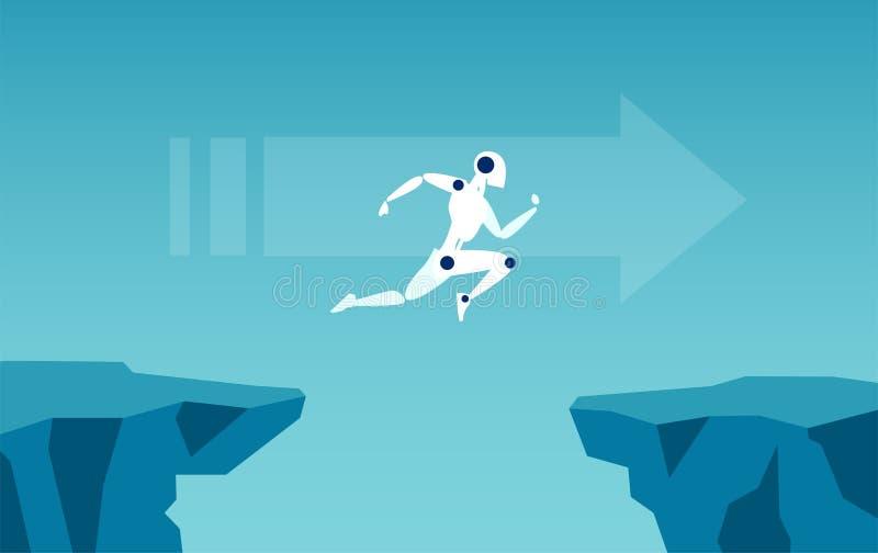 Διάνυσμα ενός ρομπότ που πηδά πέρα από το χάσμα ως σύμβολο της υπερνίκησης των προκλήσεων ελεύθερη απεικόνιση δικαιώματος
