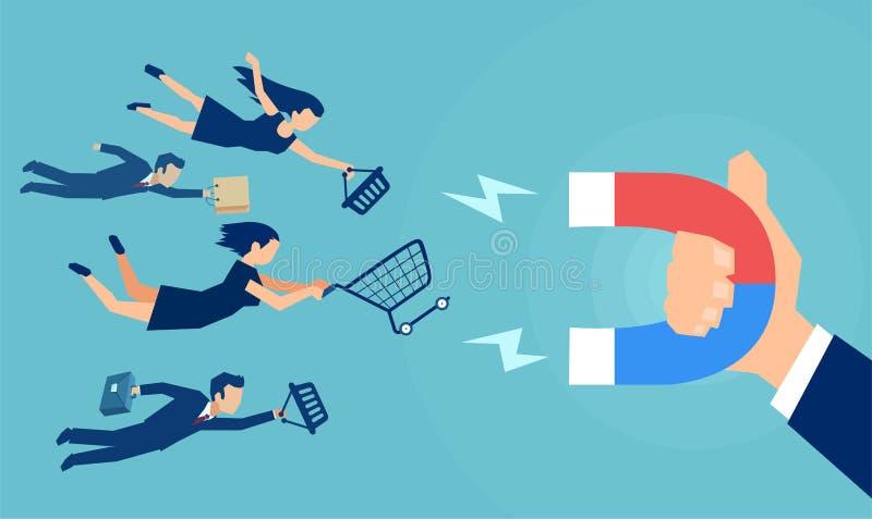 Διάνυσμα ενός χεριού επιχειρησιακών ατόμων με το μαγνήτη που προσελκύει τους πελάτες ελεύθερη απεικόνιση δικαιώματος