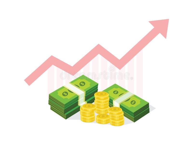 Διάνυσμα επιχειρησιακών εικονιδίων για την οικονομική γραφική παράσταση χρημάτων έννοιας επιτυχίας απεικόνιση αποθεμάτων