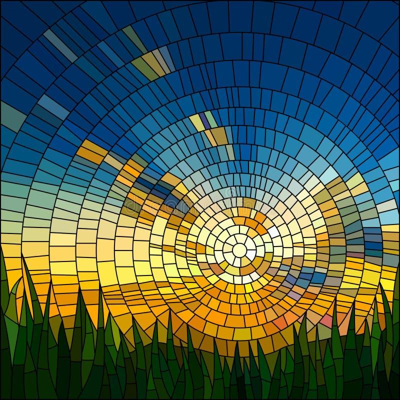 διάνυσμα ηλιοβασιλέματος απεικόνισης χλόης διανυσματική απεικόνιση